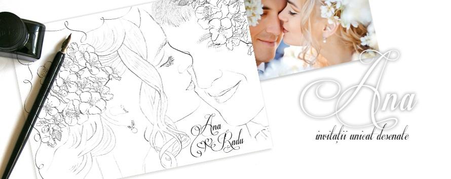 Ana - Invitatie de nunta desenata