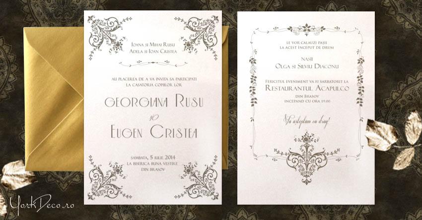 British Glamour Invitatie De Nunta Florala Eleganta Inspirata De