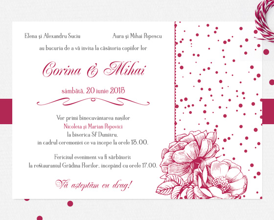 Invitatie de nunta eleganta bordo cu trandafiri - Velvet - YorkDeco