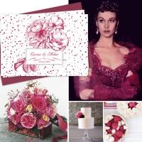 {Velvet}: Invitatie de nunta eleganta vintage, cu trandafiri desenati, inspirata de Scarlett O`Hara