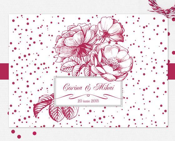 Invitatie de nunta florala eleganta - Velvet - YorkDeco