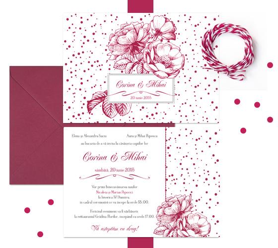 Invitatie de nunta vintage, eleganta, cu trandafiri desenati - Velvet - YorkDeco