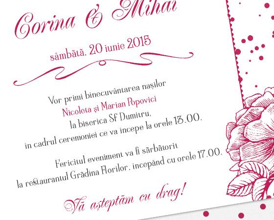 Invitatie de nunta vintage florala - Velvet - YorkDeco