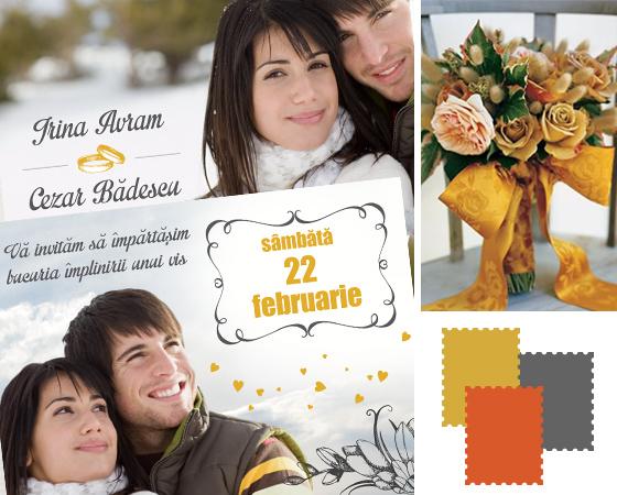 Invitatie de nunta de iarna unicat cu fotografii