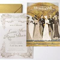 {Gatsby}: Invitatie de nunta de lux Art Deco