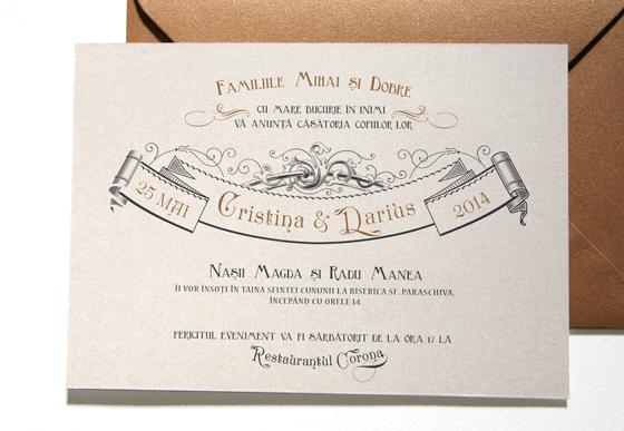 Invitatie de nunta de lux medievala