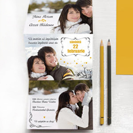 YorkDeco - Love Story - Invitatie de nunta unicat, personalizata cu poze si ilustrata