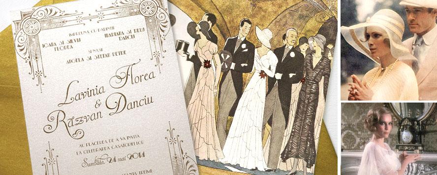 Invitatie nunta Gatsby cu ilustratie - YorkDeco