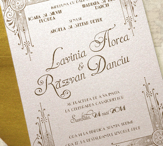 Invitatii nunta art deco cu ilustratie - Yorkdeco