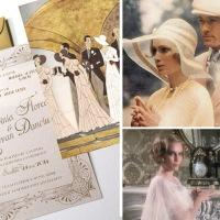 {Gatsby}: Invitatie de nunta art deco cu ilustratie