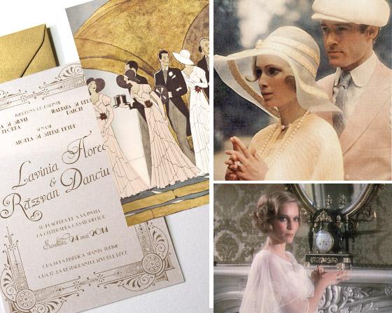 Invitatii nunta Gatsby auriu cu ilustratie - Yorkdeco