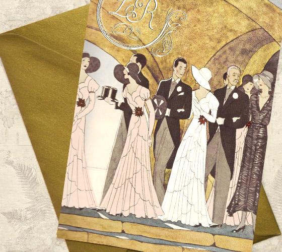 Invitatii nunta Gatsby cu ilustratie - Yorkdeco