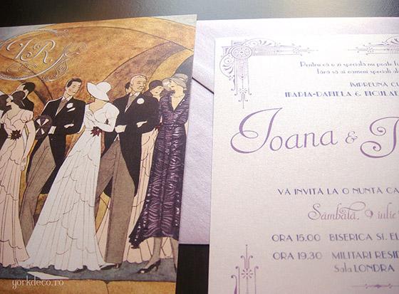 Gatsby Invitatie De Nunta Art Deco Cu Ilustratie Yorkdeco