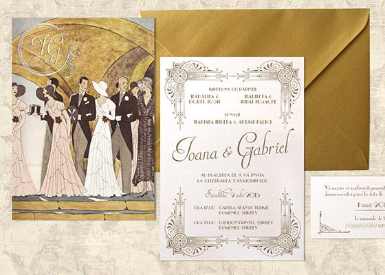 Invitatii nunta Gatsby - Yorkdeco