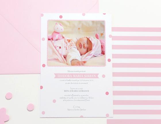 Teodora - invitatie de botez fetita cu foto