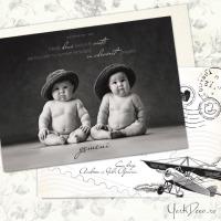 Invitatie de botez gemeni, ilustrata retro, cu fotografie