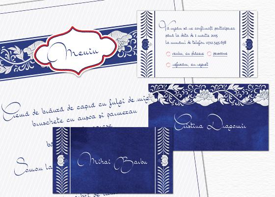 Accesorii pentru Invitatie de nunta eleganta orientala albastru si argintiu
