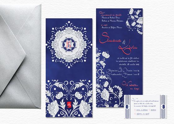 Invitatie de nunta glamour orientala albastru si argintiu cu rsvp