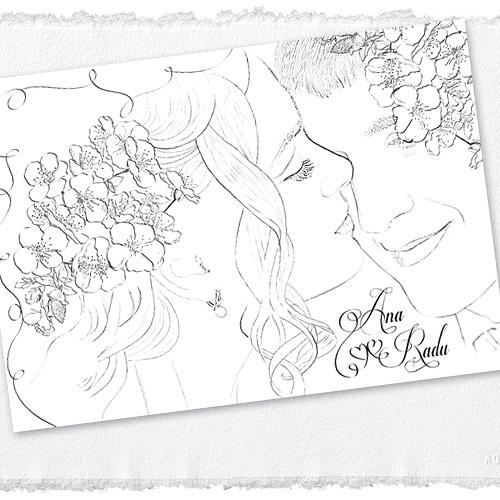 Invitatii nunta unicat cu portret miri - Ana - YorkDeco