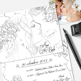 Invitații nuntă unicat desenat cu portretul mirilor