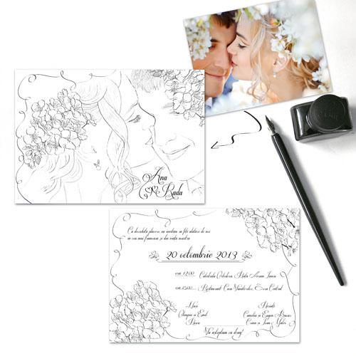 Invitatii nunta unicat desenate cu portretul mirilor - Ana - YorkDeco