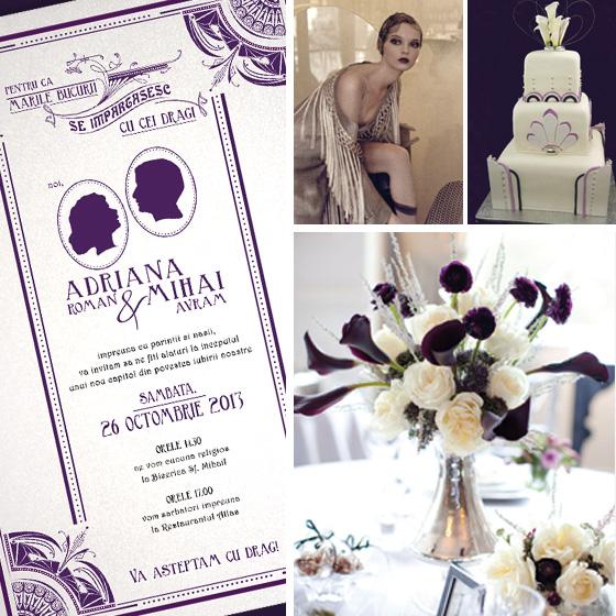 invitatii nunta Art Deco - Gatsby - YorkDeco