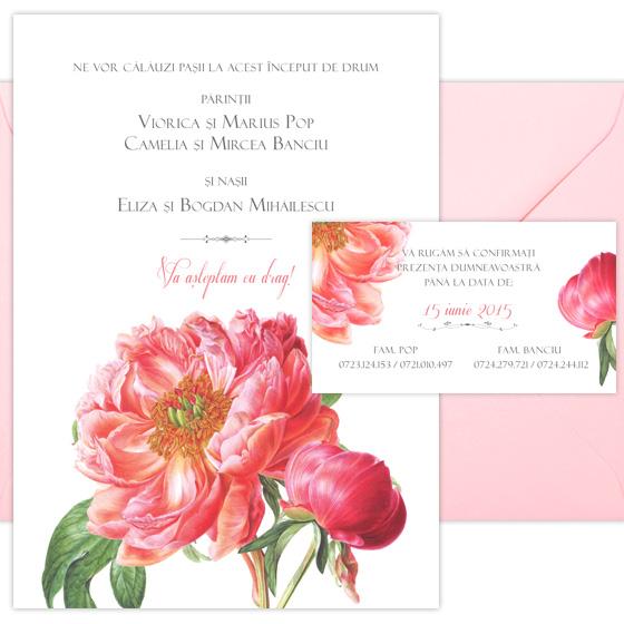 Invitatii nunta elegante si romantice cu flori pictate - Coral - YorkDeco