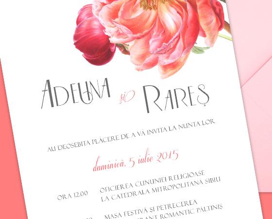 Invitatii nunta romantice florale - Coral - YorkDeco - detaliu
