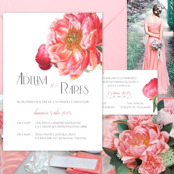 Invitatii nunta romantice florale - Coral - YorkDeco