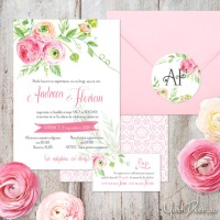 {Sweet Summer}: Invitatie de nunta romantica, cu flori pictate in acuarela
