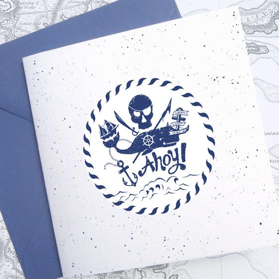 Invitatie botez baietel ilustrata cu tema pirati - Mihaita - YorkDeco