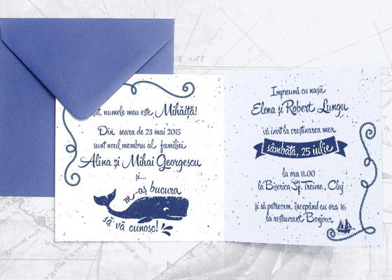 Invitatie botez originala pentru baietel cu tema nautica - - Mihaita - YorkDeco