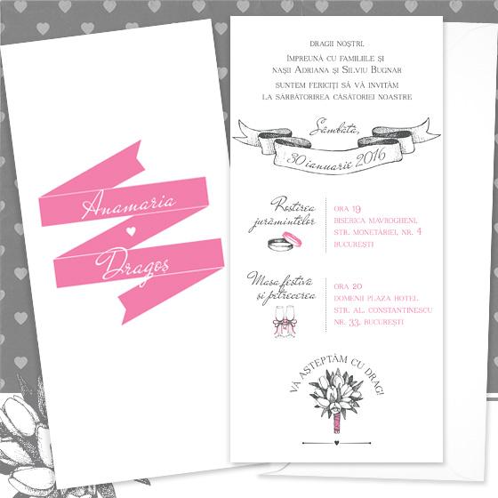 Invitatii de nunta simple, ilustrate - Lola - YorkDeco (2)