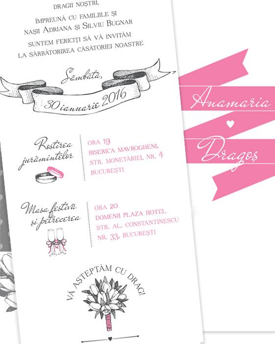 Invitatii de nunta simple, ilustrate - Lola - YorkDeco (3)