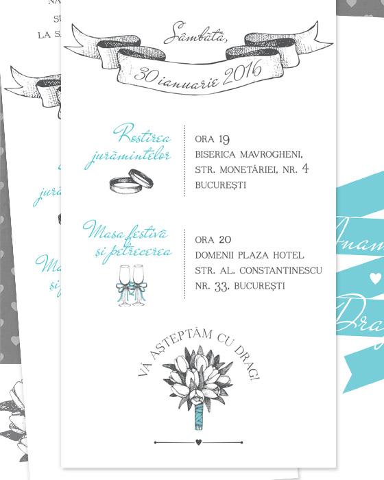 Invitatii de nunta simple, ilustrate - Lola - YorkDeco (6)