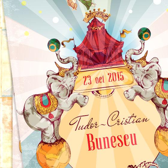 Invitatie botez vintage ilustrata - Tudor - YorkDeco - fata detaliu