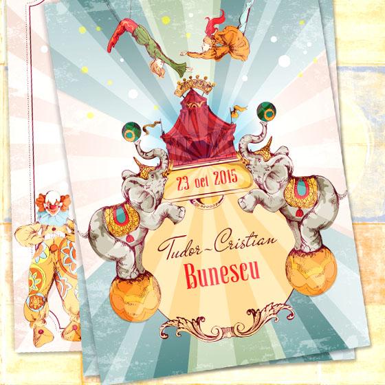 Invitatie botez vintage ilustrata - Tudor - YorkDeco - fata