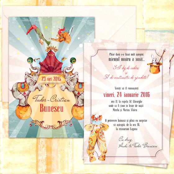 Invitatie botez vintage ilustrata - Tudor - YorkDeco