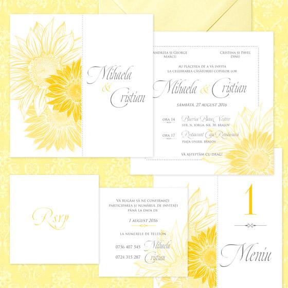 invitatie de nunta eleganta cu floarea soarelui - Bouquet dOr - YorkDeco (1)