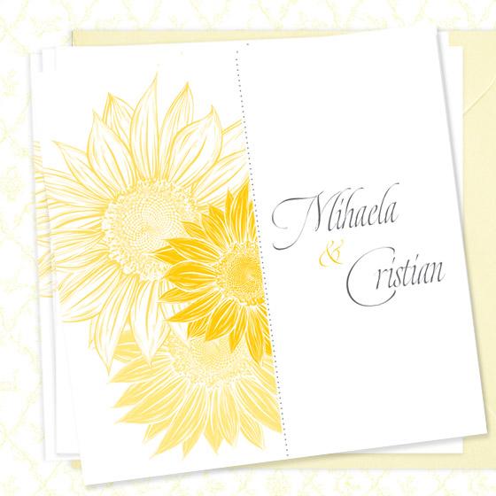 invitatie de nunta eleganta cu floarea soarelui - Bouquet dOr - YorkDeco (2)
