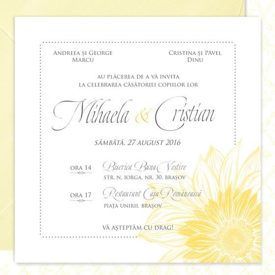 invitatie de nunta eleganta cu floarea soarelui - Bouquet dOr - YorkDeco (4)