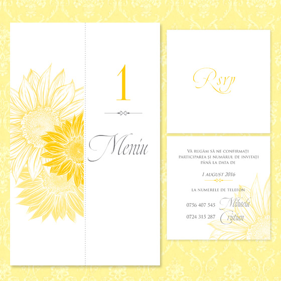 invitatie de nunta eleganta cu floarea soarelui - meniu si rsvp - Bouquet dOr - YorkDeco