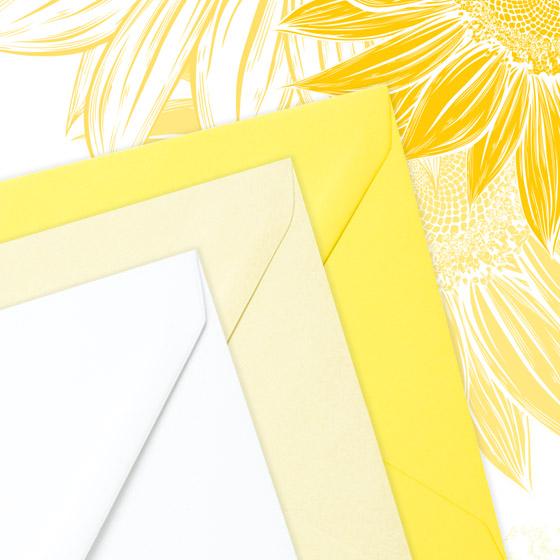 invitatie de nunta eleganta cu floarea soarelui - plicuri - Bouquet dOr - YorkDeco