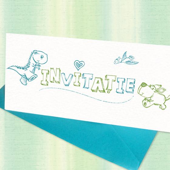 Invitatie botez baietel, simpla si moderna, ilustrata cu animalute - YorkDeco (1)