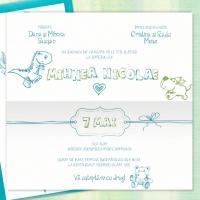 {Mihnea}: Invitatie de botez baietel, verde si albastru turcoaz, ilustrata cu animalute