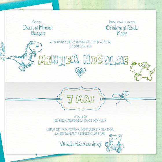 Mihnea Invitatie De Botez Baietel Verde Si Albastru Turcoaz