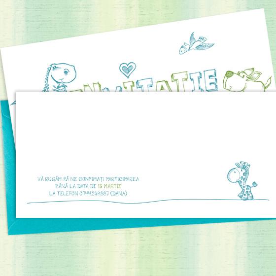 Invitatie botez baietel, simpla si moderna, ilustrata cu animalute - YorkDeco (6)