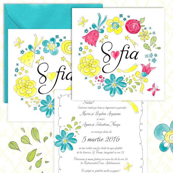 Invitatie de botez florala pentru fetita - Sofia - YorkDeco (1)