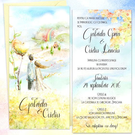 Invitatie de nunta ilustrata in culori vii cu pereche de indragostiti (1)