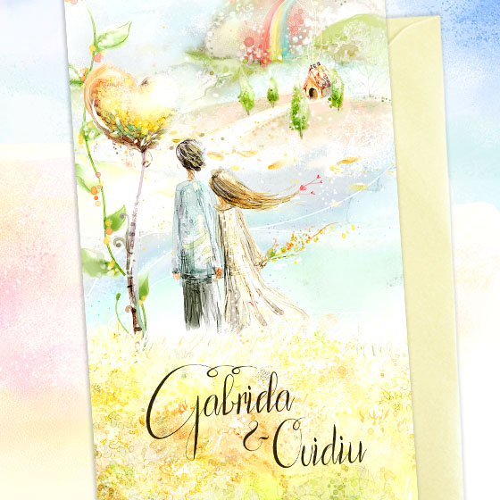 Invitatie de nunta ilustrata in culori vii cu pereche de indragostiti (2)